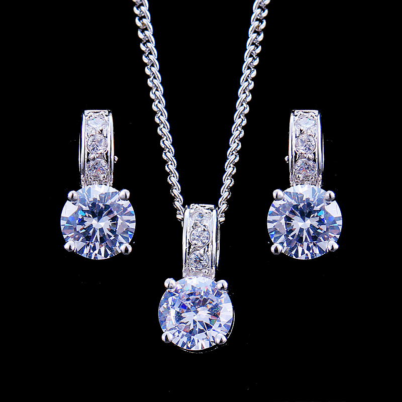 Emmaya Bridal Jewelry Sets Female Jewellery With Zircon Set of Earrings Pendant Necklaces Gift Party for Woman(China)