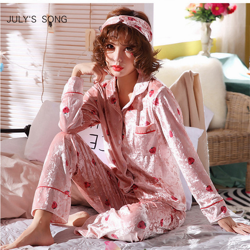 JULY'S SONG Gold Velvet Women   Pajamas   Winter Warm   Pajamas     Set   Strawberry Sleepwear Long Sleeves Homewear 2 Peices Nightwear