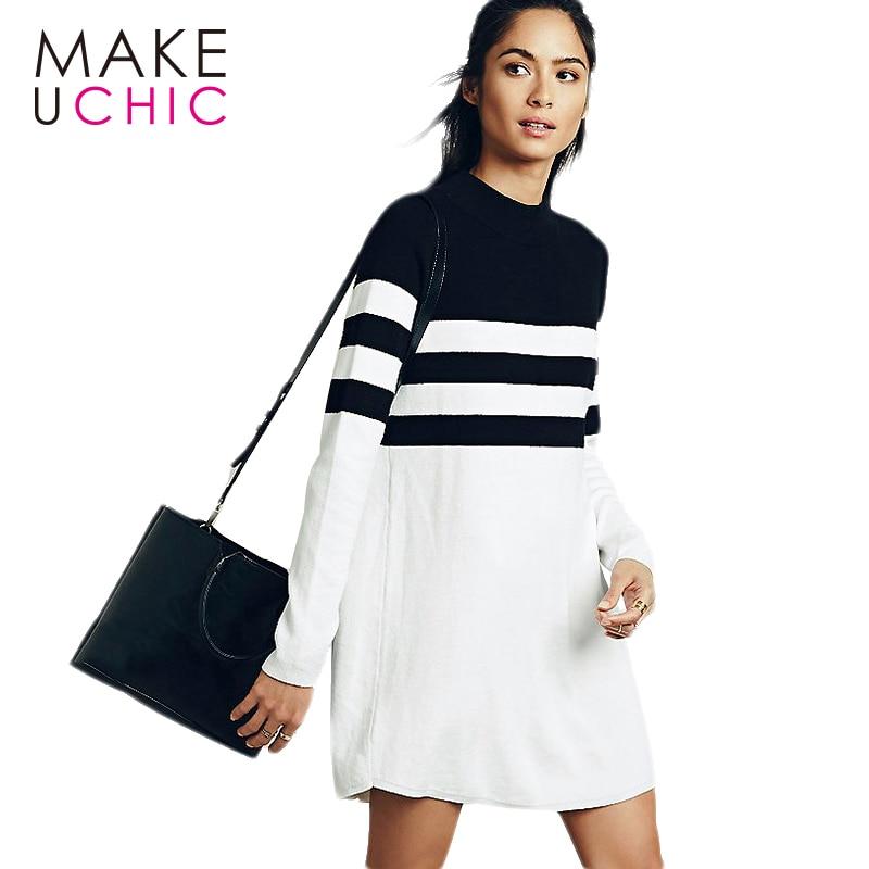MAKEUCHIC Vêtements Mode Longue Ligne Femmes Robe Manches Longues Street Style Banlieue Midi Robe Mignon Rayé De Base Femme Robes