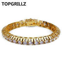 TOPGRILLZ Hip Hop New Fashion Iced Out Bling Jewelry Bracelet Gold Color Micro Pave CZ Stone