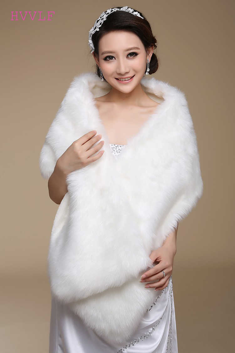 New Elegant Long Hair Faux Fur Wedding Shawl Stoles Wraps Cape for Women
