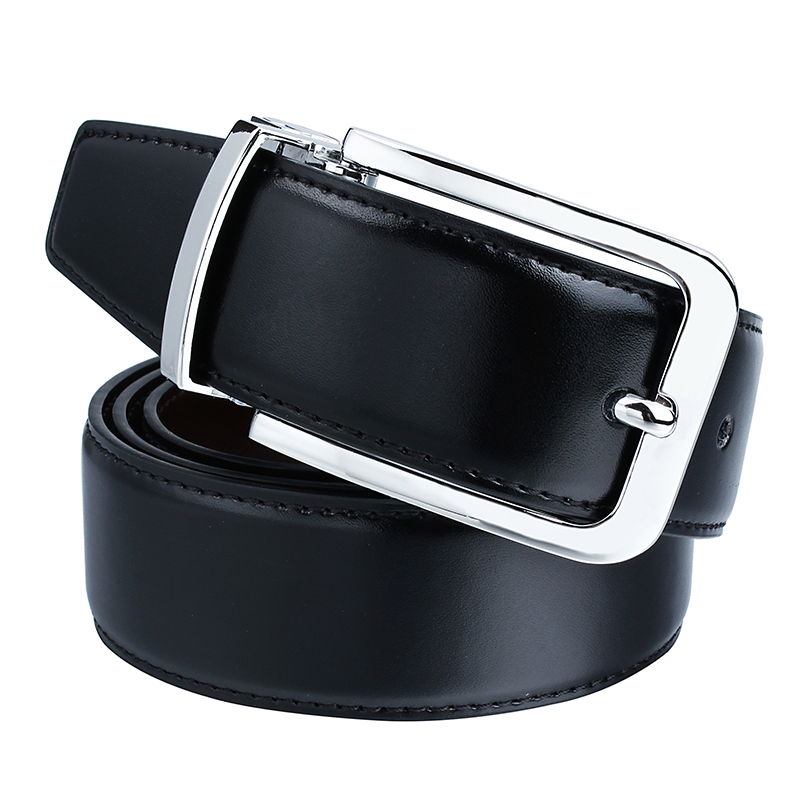 Business Black Mens Leather Belt with Removable Buckle for Men Small Size 80 CM Adjustable Male Strap