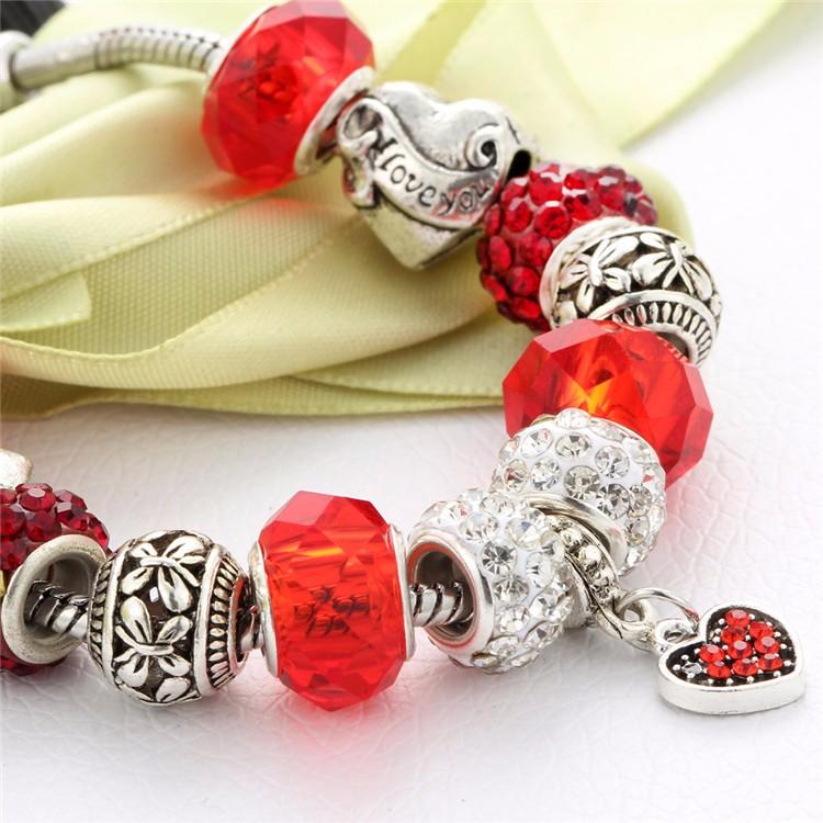 17KM Vintage Silver Color Charm Glass Bracelets For Women 17 New Crystal Heart Beads Bracelets & Bangles Pulseras DIY Jewelry 41