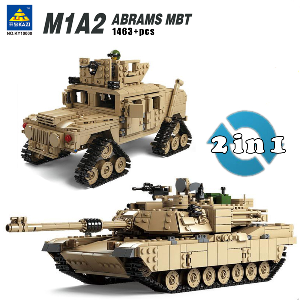 Kazi Military M1A2 Tank Collection Series Trans Toys 1:28 ABRAMS MBT HUMMER Model Building kits Blocks compatible 8 in 1 military ship building blocks toys for boys
