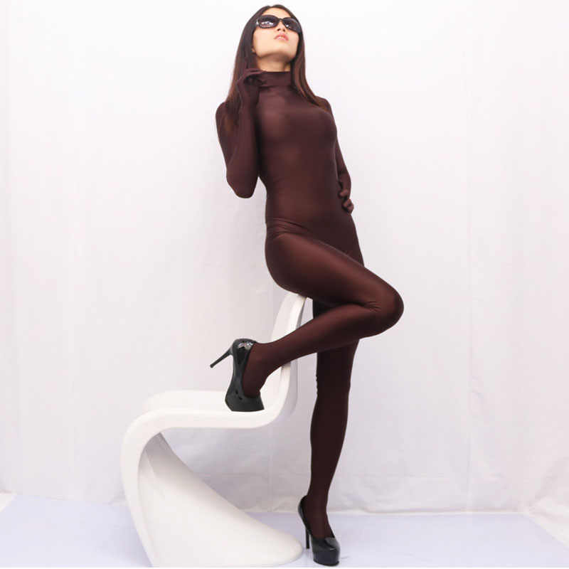 Góticos algodón Lycra de talla grande monos de cuello alto Mujer mono con guante Cosplay una pieza capa cuerpo Mujer monos Zentai