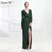 Luxury Dark Green Long Sleeve Evening Dresses 2017 Sexy Deep V-neck Side Split Beaded Sequins Gray Dubai Arabic Robe De Soiree