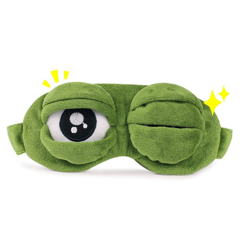 Sad Frog Green for Girlfriend Gift Sad Frog 3D Eye Mask Soft Sleeping Funny Cosplay Toys Sleeping Beauty Goggles cute eyes mask cover plush the sad 3d frog eye mask cover sleeping rest travel sleep anime funny gift 3ju26
