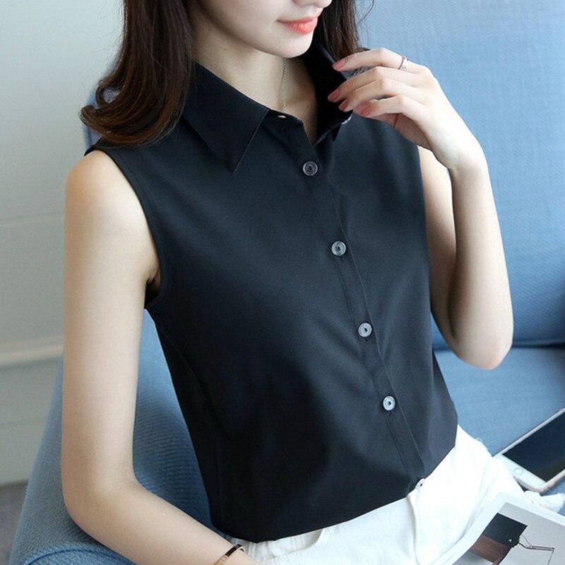 S-4XL Nové dámské šifónové tričko letní 2019 elegantní černé bílé bez rukávů volné formální práce topy Tees šifonová halenka žena  t