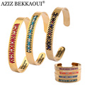 AZIZ BEKKAOUI Bracelets Women Cuff Bangles Colorful Seed Beads Bracelet Gold Plated Jewelry Stainless Steel Bangle Femme Bijoux