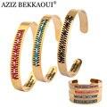 Aziz bekkaoui pulseiras cuff mulheres pulseiras coloridas missangas pulseira banhado a ouro jóias em aço inoxidável pulseira femme bijoux