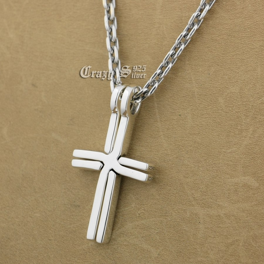 925 Sterling Silver Lovers Cross Charm Pendant 9S110A 92.5% Sterling Silver Necklace 24 inches