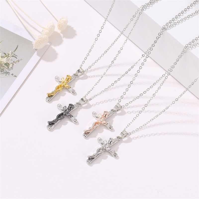 4 Warna Wanita Pria Rantai Christian Perhiasan Hadiah Vintage Salib Yesus Potongan Panjang Liontin & Kalung Rose Bunga Steel