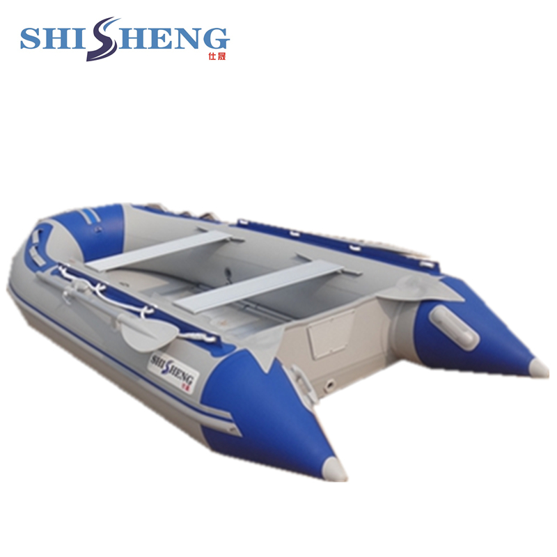 High quality inflatable Folding aluminium floor boat 2017 aluminum floor inflatable folding boat 300cm army green and black for sale