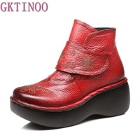 Women Autumn Winter Shoes Genuine Leather Boots Handmade Women Shoes Soft Bottom Ankle Boots With Platform
