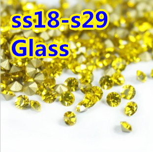 Citirine Color~SS18~SS29 Round Crystal loose pointback Beads  Stones ,Glass glue on Garmentnail art Decoration