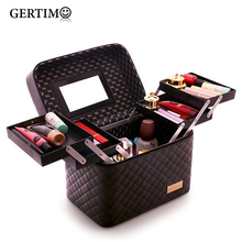 Women's Beautician Vanity Large Capacity Professional Travel Makeup Suitcase Female Cosmetic Bag for Make Up;bolsa de maquillaje