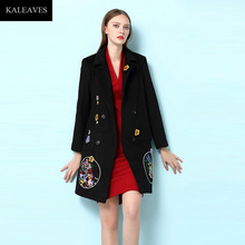 New Autumn And Winter Coat Female Elegant Coat 2016 Runway Double Breasted Turn-down Collar Embroidery Flower Black Brand Coat