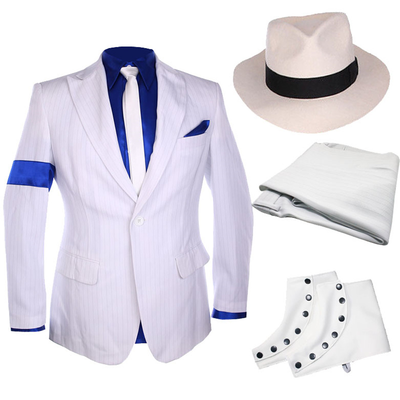 Classic MJ Michael Jackson Smooth Criminal Stripe Suit Jacket Blazer Full Set For Fans Party Show Imitation Customize Gift