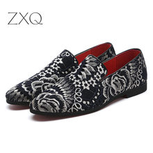 New Men Canvas Mesh Loafers Classic Embroidery Pattern Mens Flats Shoes Large Size 38-48 Comfortable Casual Driving Footwear