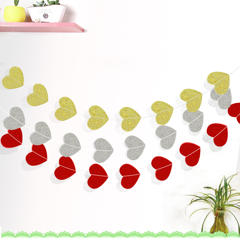 Glitter Paper Birthday Party Hanging Bunting Banner Flag: 2sets Glitter Paper Red/Silver/Gold Heart Garland Home