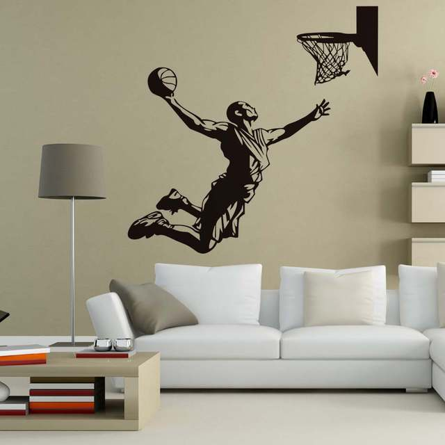 c8db1201e47a Online Shop DCTOP Basketball Player Shoot At The Basket Wall Decals Home Decor  Vinyl Removable Wall Stickers Living Room Sports Murals