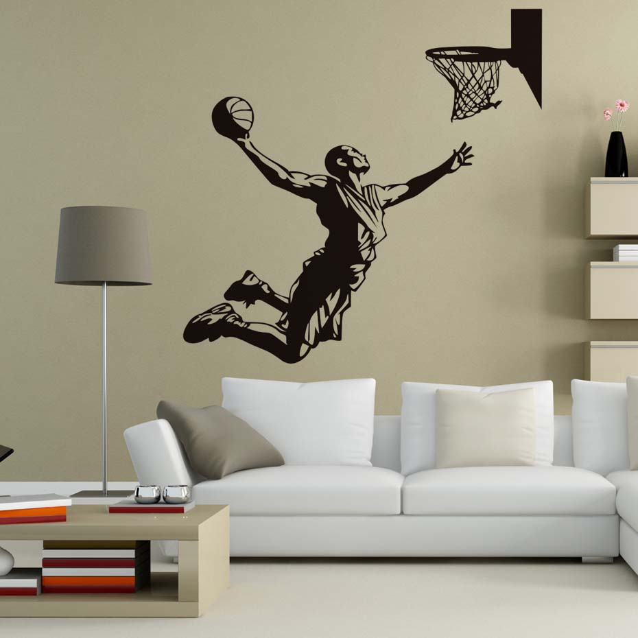 DCTOP Basketball Player Shoot At The Basket Wall Decals Home Decor Vinyl Removable Wall Stickers Living Room Sports Murals ...