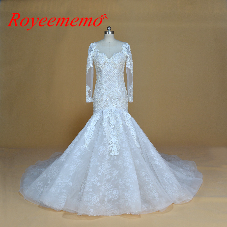 champagne and ivory special lace design wedding dress classic mermaid style wedding gown custom made factory