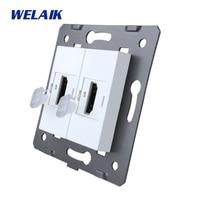 WELAIK Brand Manufacturer EU Standard 2HDMI Socket DIY Parts Wall HDMI Socket Parts Without Glass Panel