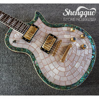Custom Shop Top Quality LP Electric Guitar White Shells Veneer Abalone Binding Body Custom Shop China