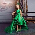 Hi Lo Green Girls Pageant Gowns Satin A Line Pleats Sash Flower Girls Dresses Children Birthday Dress Kids Formal Wear