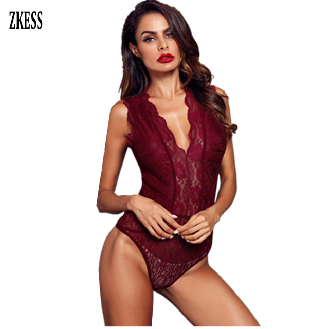 ZKESS Sexy Body Dentelle Summer 2019 Clothing Women White Black V Neck Hollow-out Lace Transparent Bodysuit Overalls LC32247