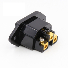 Hifi audio AC IEC Inlet female 24K Gold plated for hifi amp chassis 1 pcs
