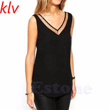 KLV Europe and America Style Summer Womens Casual V-neck Sleeveless Solid Color Mesh Patchwork Chiffon Shirts S-XXL