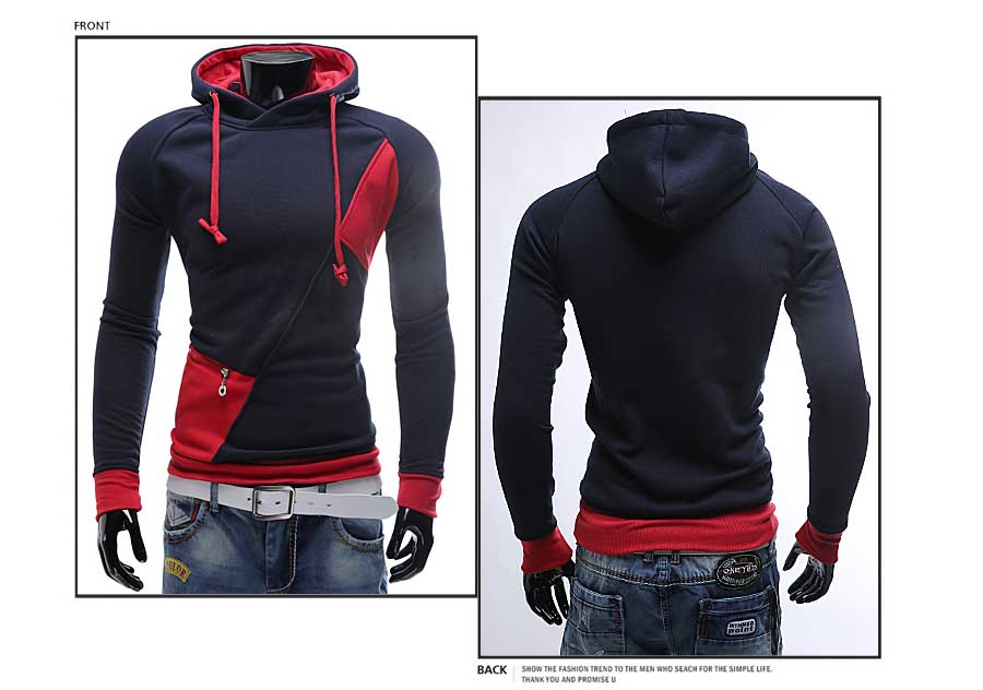 spring and autumn new hoodie men's matching color patchwork jumper Korean version of men's coat 42