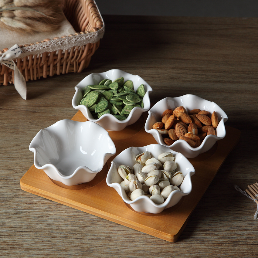 Ceramic 4 Divisions Serving Bowl Decorative Porcelain