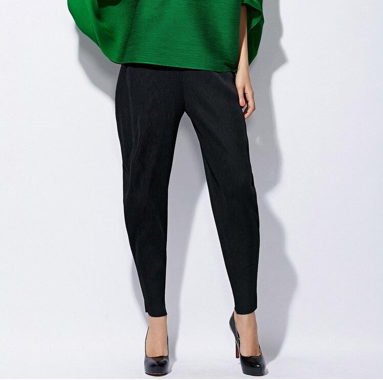 High-end fashion wanita Miyak Lipit 2017 Desain lipat Celana Elastis - Pakaian Wanita - Foto 3