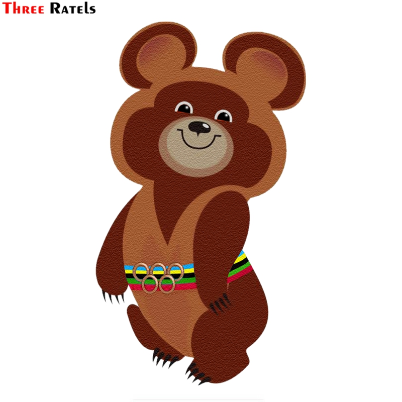 Three Ratels TZ-1527#23*13.4cm Olympic Bear 1980 Car Stickers Colorful Funny Auto Sticker Decals