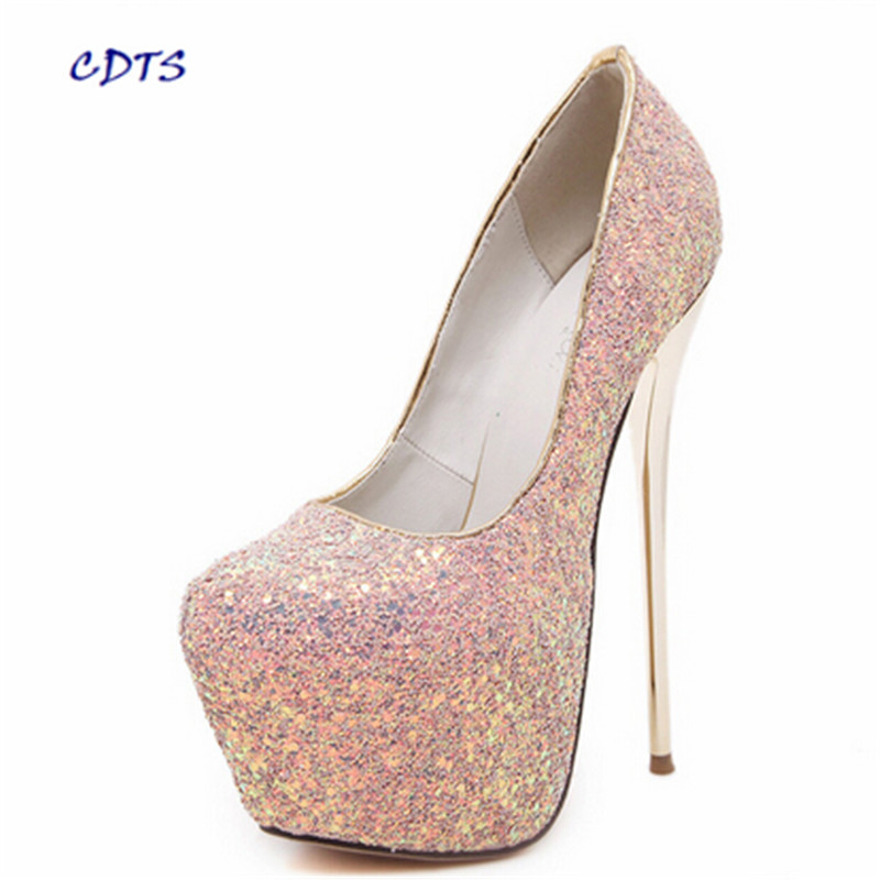 ФОТО zapatos mujer Spring Crossdresser Ladies 18cm thin heels pumps ultrafine high-heeled shallow mouth bling Glitter wedding shoes