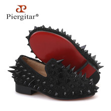 Piergitar 2019 nieuwe stijl ouderlijke schoen hetzelfde mannen loafers ontwerp kinderen spikes loafers handgemaakte party en wedding kid slippers(China)