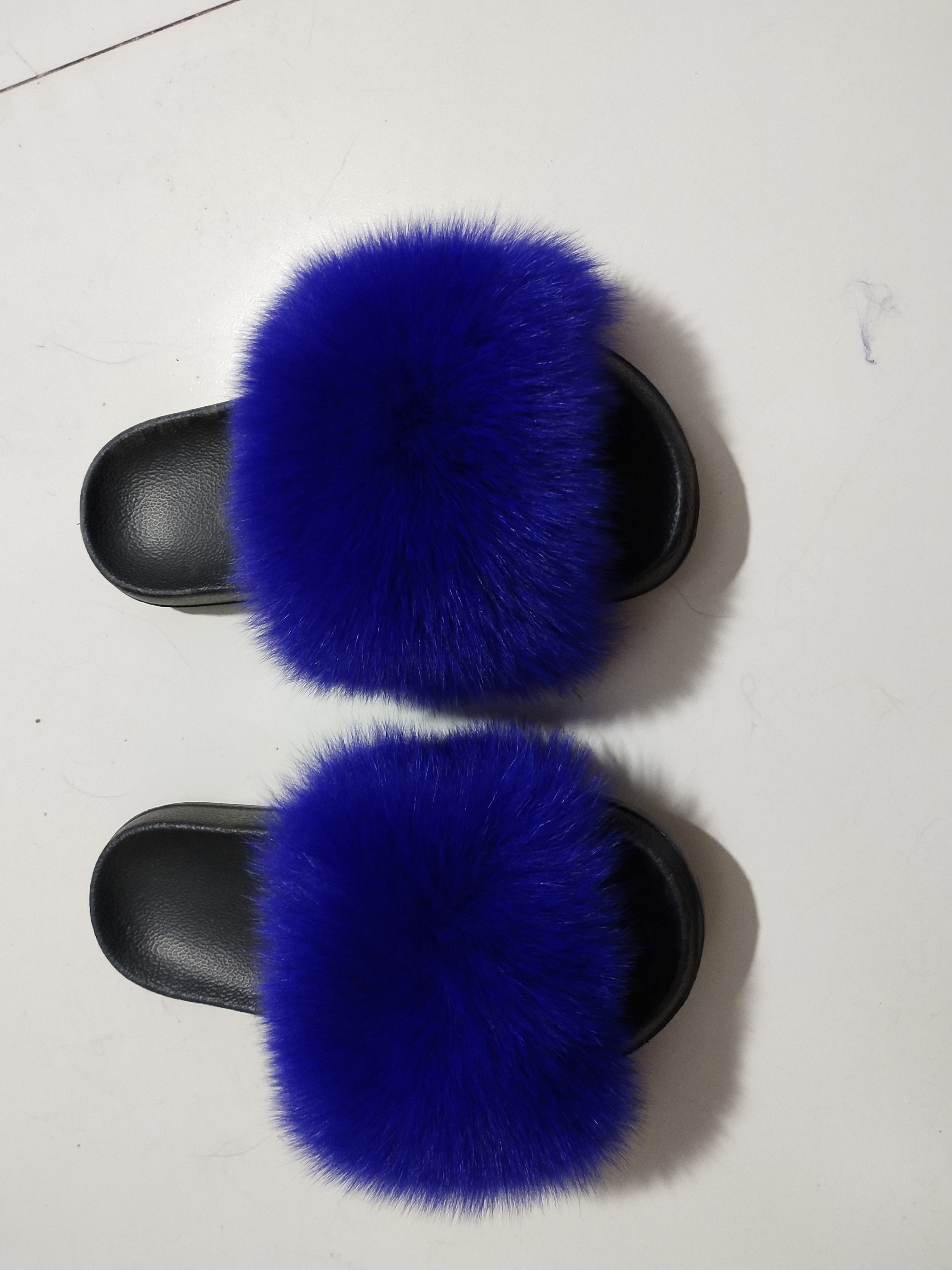 Fur Slippers Women Real Fox Fur Slides Home Furry Flat Sandals Female Cute Fluffy House Shoes Woman XH01