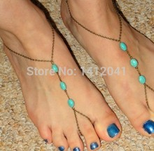 FD766 Fashion Fine Summer all-match simple close to nature three Turquoise mitten Anklet 1PC
