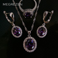 Dubai Fashion Amethyst Zircon Silver Jewellery Set Statement Necklace And Earrings Cz Diamond Wedding Jewelry Sets For Girls