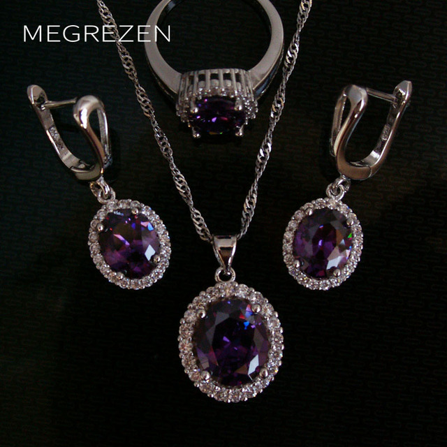 MEGREZEN Fashion Zircon Silver Jewellery Set Statement Necklace And