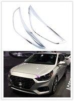 ABS Chromed Exterior Front Headlight Head Light Mouldings 4 PCS For Hyundai VERNA Solaris Accent 2018