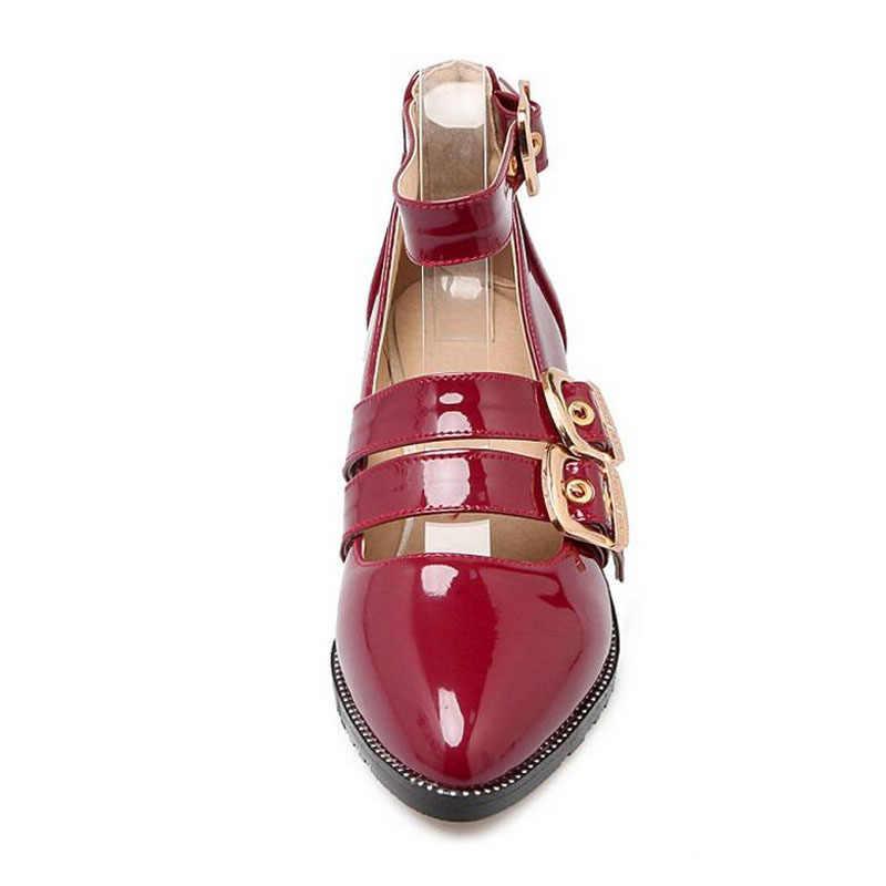 Primavera 2019 nuevas marcas de charol negro rojo tacón alto oro colores tejido zapatos mujeres bombas moda hebilla de Metal
