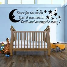 Shoot For The Moon Wall Art Vinyl Sticker Bedroom Nursery Decoration Kids Quote Mural And Stars AY1027