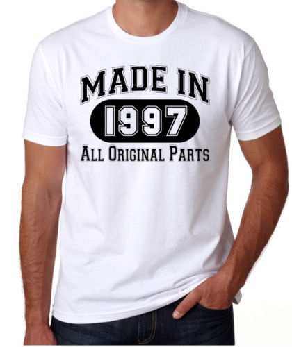 2018 Short Sleeve Cotton T Shirts Man Clothing 21St Birthday Made In 1997 Original Parts Funny Present Party Mens White Shirt From