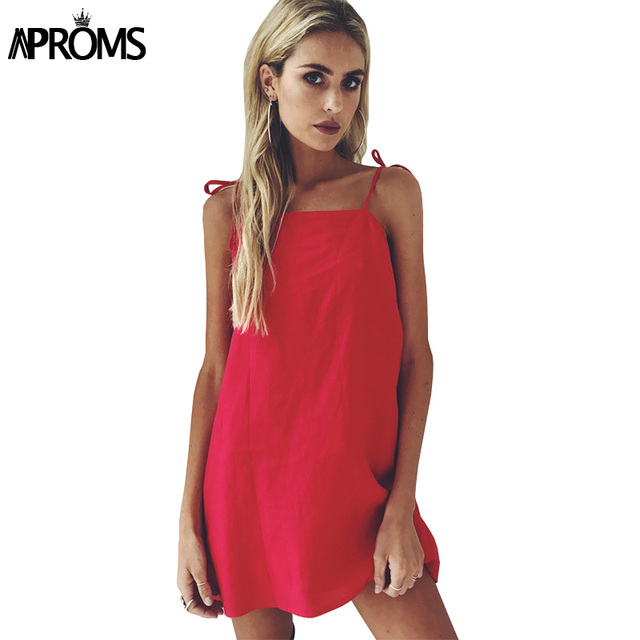 c80e6eba1d62 Aproms 90s Low Back Summer Dress Elegant Bow Tie Up Shoulders Sundresses  Women Slim Bodycon Dresses