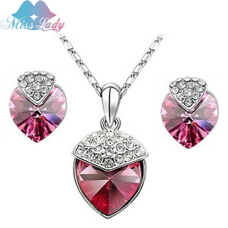 5493339bd28f Miss Lady Silver color Rhinestone Crystal Peach Heart Crystal Jewelry Sets  Wholesales Fashion Jewelry for women MLZ1160-in Jewelry Sets from Jewelry  ...