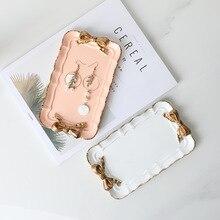 Скандинавские креативные домашние полимерная для торта тарелка десертные блюда бабочка узел бытовые товары ремесло подарок лоток для хранения розовый